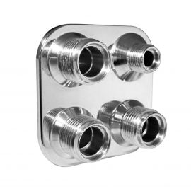 Vintage Air - Streamline Polished Aluminum 4-Way Square Bulkhead Plate for AC and Heater 6-10 Male O-Ring
