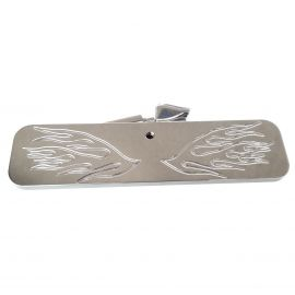 STAINLESS INTERIOR REAR VIEW VISION MIRROR FIRE FLAME WINGS WITH FITTINGS