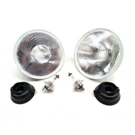 MITSUBISHI CHRYSLER 1950-LATE 1980 GALANT LANCER 7 INCH HEADLIGHTS LAMPS H4 WITH BULBS