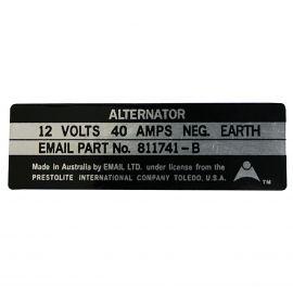 FORD XR XT ZA ZB ALTERNATOR (EMAIL SYSTEM) DECAL
