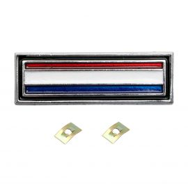 FORD XW XY GS BADGE CONSOLE (RED, WHITE & BLUE STRIPE)