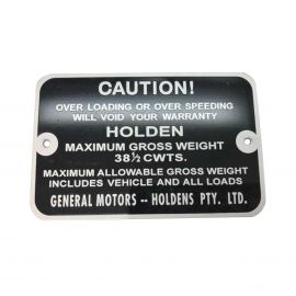 HOLDEN HK HT HG PANELVAN GROSS VEHICLE WEIGHT TAG