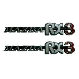 MAZDA RX3 PLASTIC QUARTER BADGES PAIR